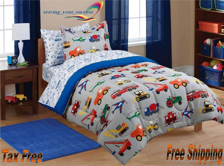 Update your child's bedroom with this Mainstays kids' bedding set. It comes complete with comforter, printed sheet set and sham(s) for a well-coordinated look. The comforter of the Mainstays bedding set is decorated with a variety of transportation vehicles, such as planes, cranes, tractors, cars and trucks, in bold primary colors that will light up a child's face. | eBay!