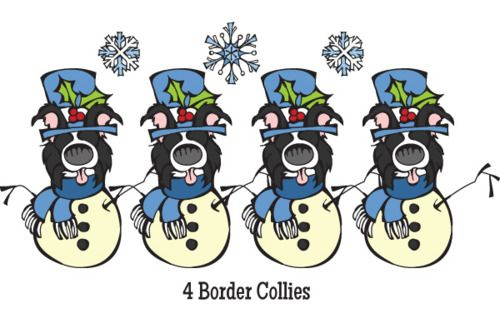 On the Fourth Dog of Christmas my Soul Mutt Gave to Me …  4 Border Collies,  3 English Bulldogs,  2 Yorkshire Terriers, and  A Boxer in a Doghouse.