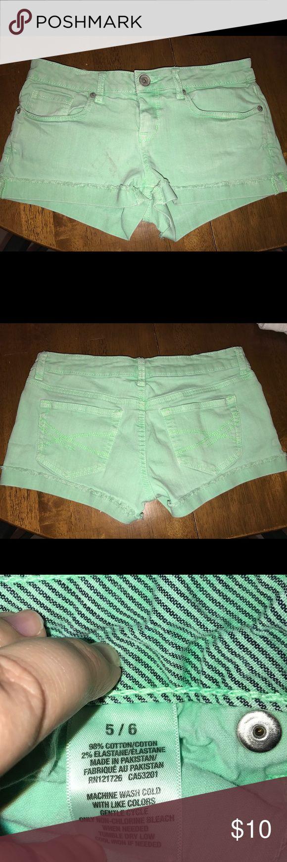 "Aeropostale shorts Aeropostale mint green jean shorts. Has a stain spot on front right leg. Machine wash cold. 98% cotton 2% elastane. Waist 15"" inseam 2"" NO TRADES! #247 Aeropostale Shorts Jean Shorts"