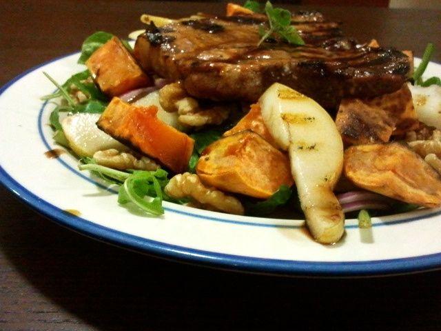 Sweet potato, pear and walnut salad with BBQ pork chop.