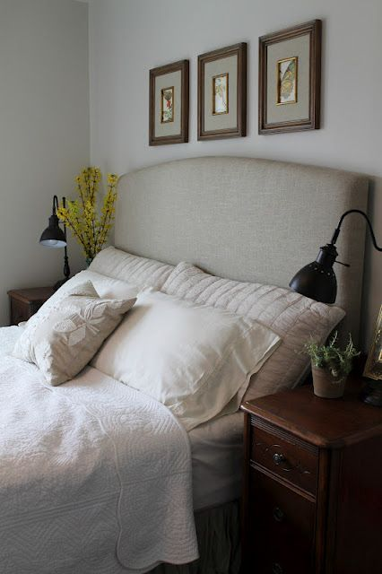 "Good bedroom Feng Shui = headboard that backs you up with a strong ""mountain"" shape. DIY upholstered headboard"