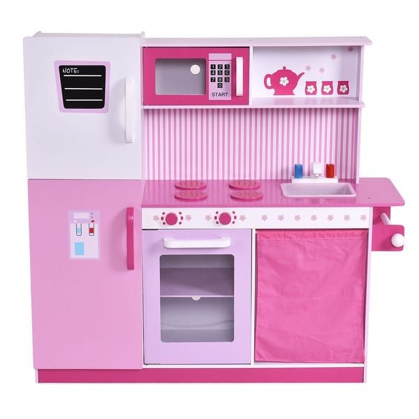 Costway Kids Wood Kitchen Toy Cooking Pretend Play Set Toddler