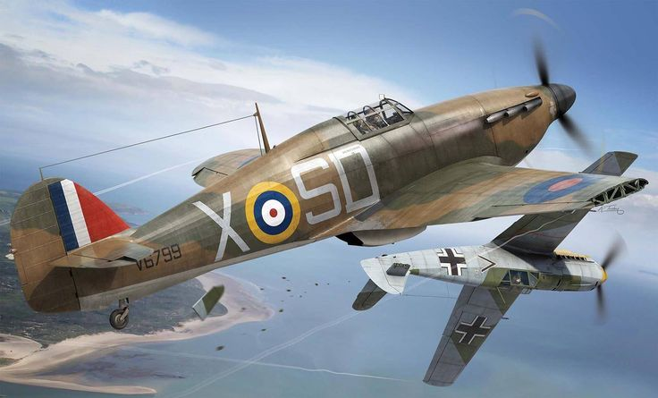 Hawker Hurricane Mk1 501Sqn P/O Ken Mackenzie was following what he thought was a damaged Me109 down to sea level. Realising the aircraft was not damaged, he deliberately struck the tailplane of the enemy aircraft with the wing of his Hurricane forcing his opponent to crash. - Airfix box artwork by Adam Tooby