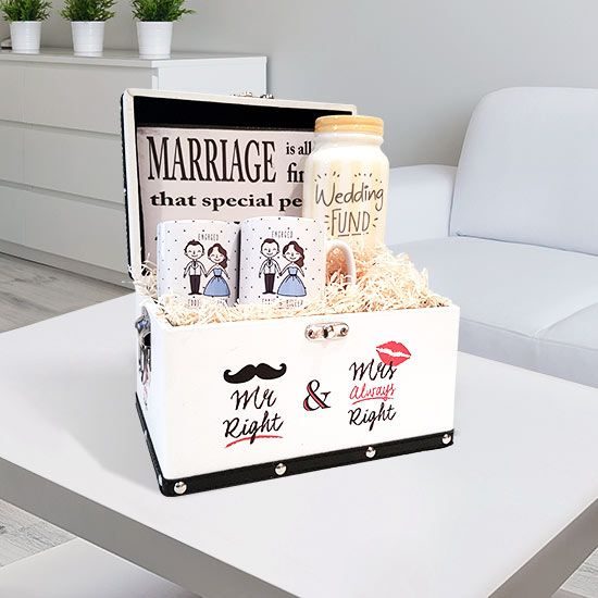 Mr & Mrs Right Engagement Gift Set: These are quickly becoming the number one engagement gift of choice. They bring joy into the life of the person.