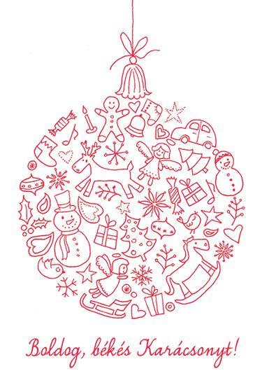 Ingyen letölthető karácsonyi képeslap - Masni, Xmas greeting cards download it for free