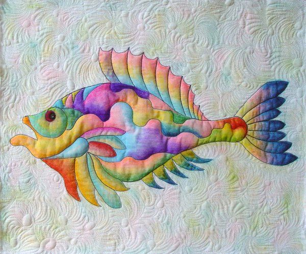 Want to try this with Derwent watercolor pencils, quilt first then color - Tropical Fish Mini Quilt