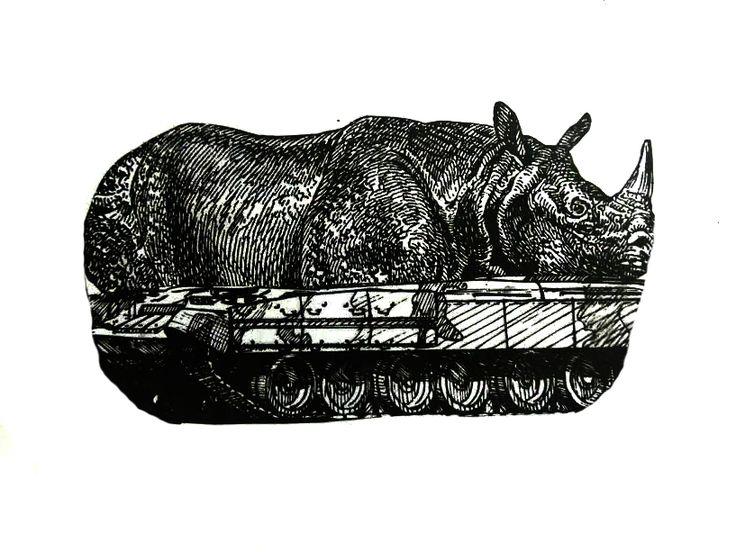 Fusión de Tanque + Rinoceronte, representando la GUERRA.
