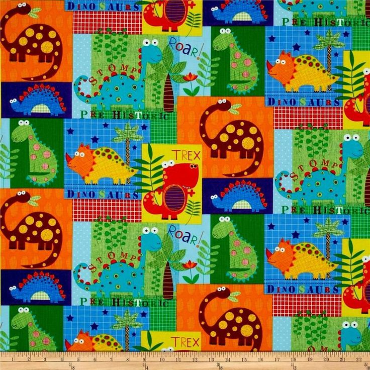 Cotton quilt fabric medely dinosaur stomp t rex stego for Purple dinosaur fabric
