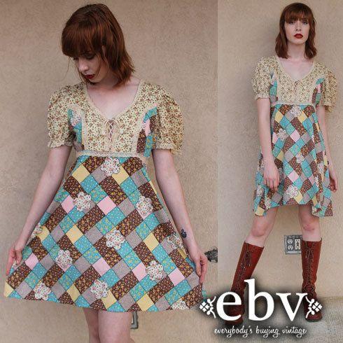 Vintage Hippie Dress Hippy Dress Patchwork Dress by shopEBV, $78.00