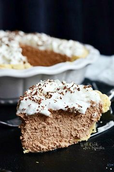 I'm sharing a French Silk Pie recipe. It's a light, silky chocolate pie that's topped with some whipped cream and chocolate shavings.