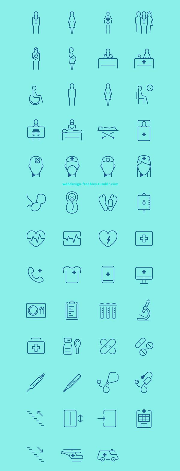 In The Hospital - Free Icon Set