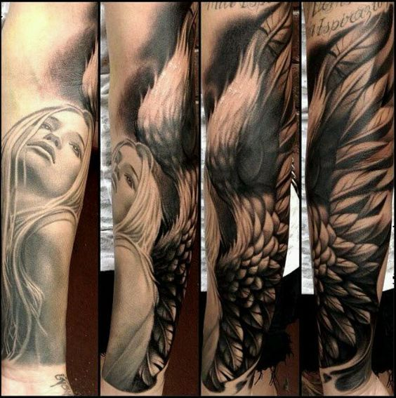 Vemos El Tatuaje De Un Angel De La Guarda El Tatuaje En 3d Tattoos Angel Sleeve Tattoo Sleeve Tattoos