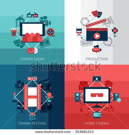 Flat design concept set of cinena show cinema festival and home video technology vector illustration