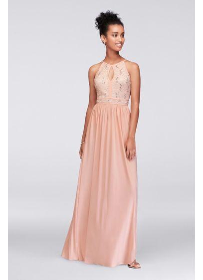 e4016a1d77 Lace Tie Back Keyhole Halter Dress Style 12490, Blush, 2 | Dresses ...