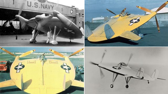 "Vought V-173, the ""Flying Pancake"", an American experimental fighter aircraft for the United States Navy (1942)."