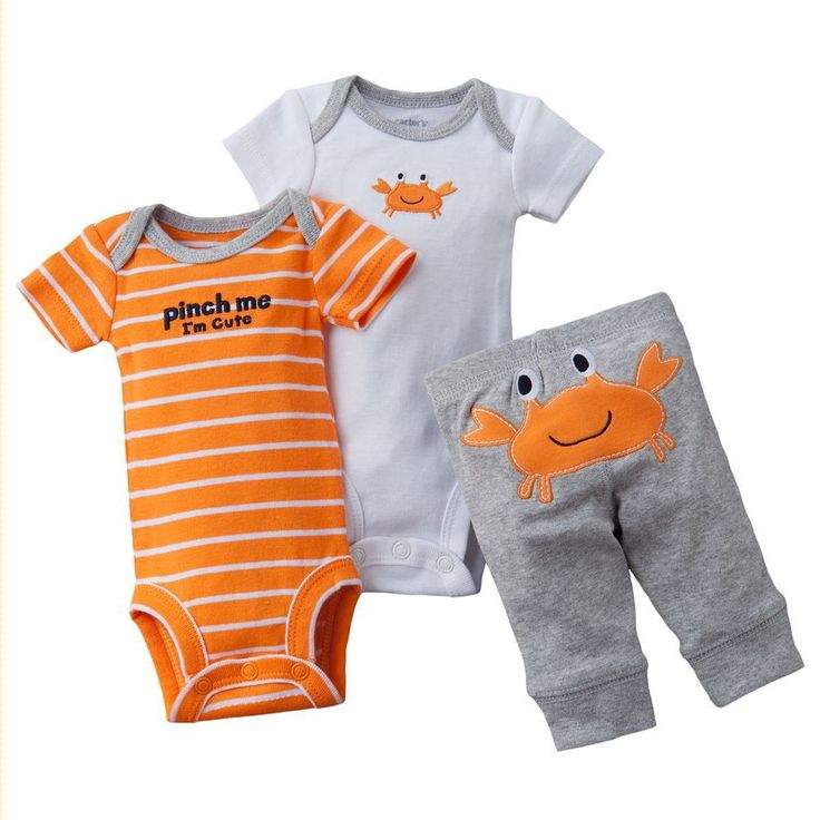 Preemie Baby Boy Clothes Outfit Shirts Pants Onesies NEW Carter's Gray Crabs