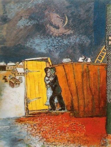 Moonlight by Marc Chagall #marcchagall #Marc-Chagall #Chagall http://www.johanpersyn.com/chagall-cubist-colours/
