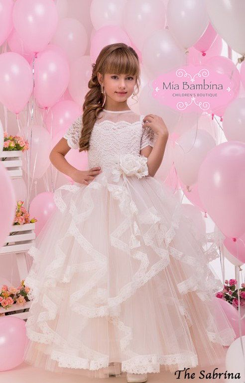 Lace Flower Girl Dress First Communion Dress by MiaBambinaBoutique