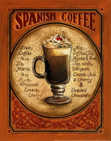 Inspiration for painting a coffee cup...Spanish Coffee Prints by Gregory Gorham at AllPosters.com