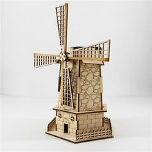 3D Puzzle Netherlangish Windmills Educational Toy Building DIY solar power Wooden puzzle