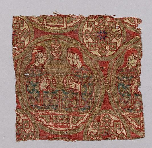 Lampas textile Fragment, 13th century CE, Spain. Silk, gilt animal substrate around a silk core.   In the Metropolitan Museum of Art.: