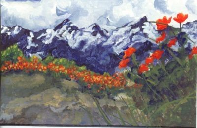 Springtime in the Mountains postcard size original painting  by me.
