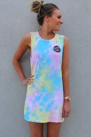 Santa Cruz - Primal Girls Muscle Dress Candy Tie Dye This Dress is SUPER RAD!! The tie dye is individual on every garment making every one unique. So in LOVE!! Can easily layered up with jeans. $59.95 AUD SHOP: http://www.jeanjail.com.au/ladies/santa-cruz-primal-girls-muscle-dress-candy-tie-dye.html