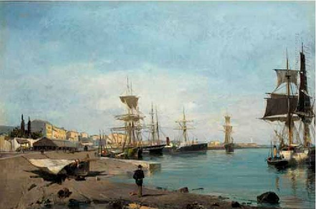 Admiring the ships - Seacape Paintings