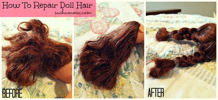 DIY Doll and Barbie Hair Repair! All you need is a spray bottle and fabric softener. I used Downy. Simply fill the spray bottle with 1/2 fabric softener and 1/2 water and spray your dolls hair and comb through. When it dries, it is so shiny too!
