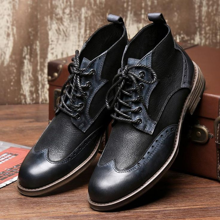 Real Leather British Street Style Men Martins Ankle Boots For Outdoor Hunting Casual Walking Waterproof Leisure High-top Shoes