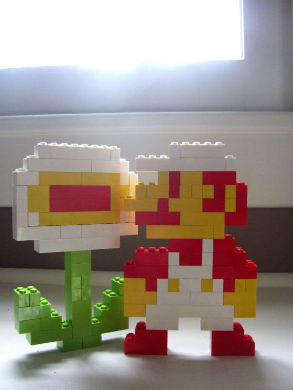 8 Bit Fire Mario and Fire Power Flower Set out of legos- Seth can make this!