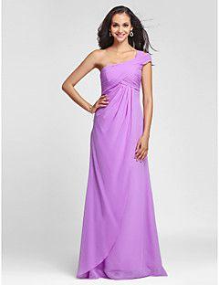 columna de un hombro vaina vestido de dama de honor vestido de gasa piso longitud