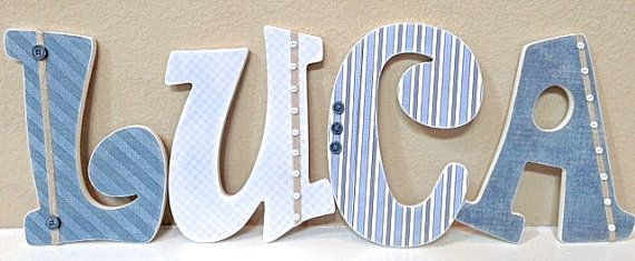 Custom Letters, Baby Boy Nursery Decor, Personalized Name- Wooden Hanging Letters -Wall Letters- The Rugged Pearl