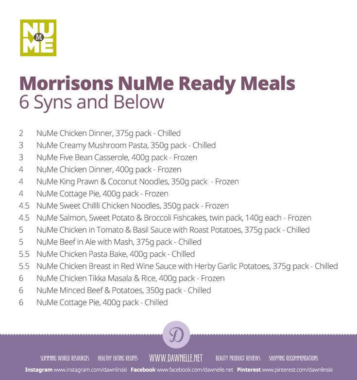 #Morrisons #NuMe Ready Meals 6 syns and below. Most are microwave friendly, some are things you can just pop in the oven! #SlimmingWorld #ExtraEasy