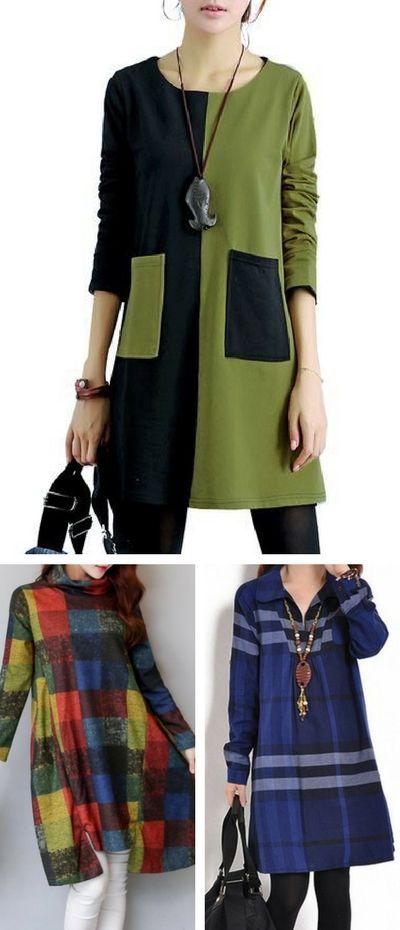 casual dress, cute dress, tunic dress, modest dress, long sleeve dress, cotton dress, rosewe dress