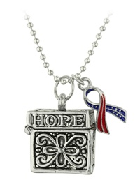American Flag Ribbon Prayer Box Necklace at The Veterans Site