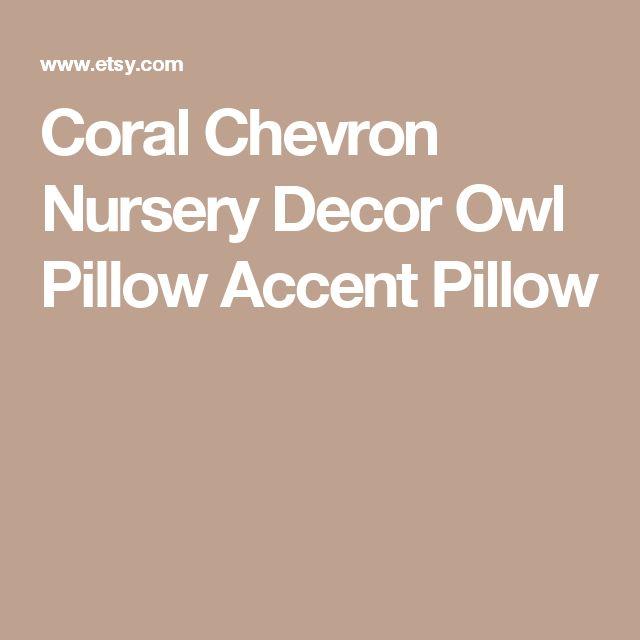 Coral Chevron Nursery Decor  Owl Pillow  Accent Pillow