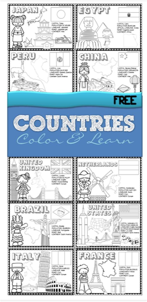 Countries - FREE printable color and learn about 18 countries from all around the world - use as coloring sheets or make a book for preschool, kindergarten, 1st grade, 2nd grade, 3rd grade