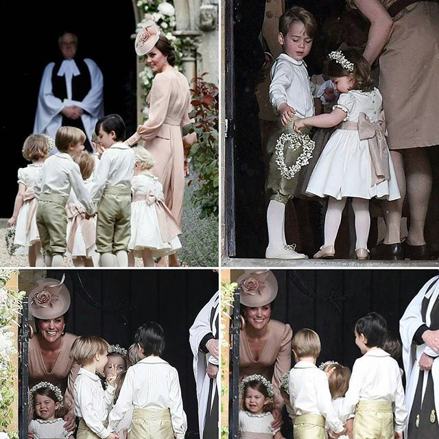 Kate Middleton arriva alla St Mark's Church ,dove si svolge il matrimonio della sorella Pippa, con i piccoli pagetti e le piccole damigelle #KateMiddleton arrives with the pageboys and flower girls for the wedding of #PippaMiddleton and James Matthews at St Mark's Church on May 20, 2017 in Englefield, England