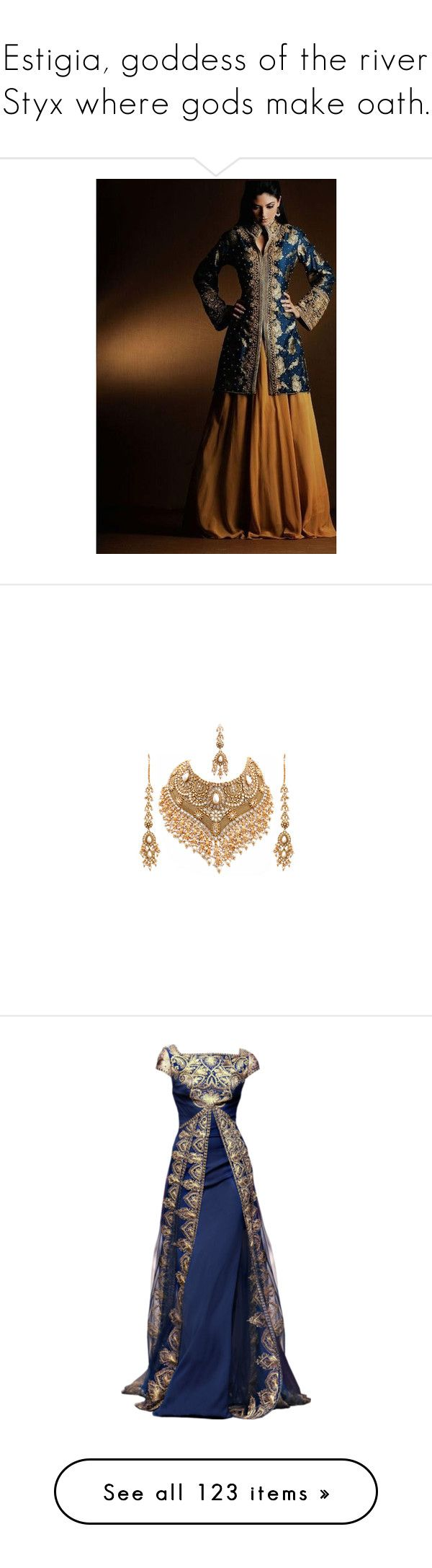 """""""Estigia, goddess of the river Styx where gods make oath."""" by viciousbasterb ❤ liked on Polyvore featuring jewelry, necklaces, accessories, gold, earrings, indian gold jewellery, yellow gold jewelry, gold necklaces, indian gold jewelry and indian jewellery"""