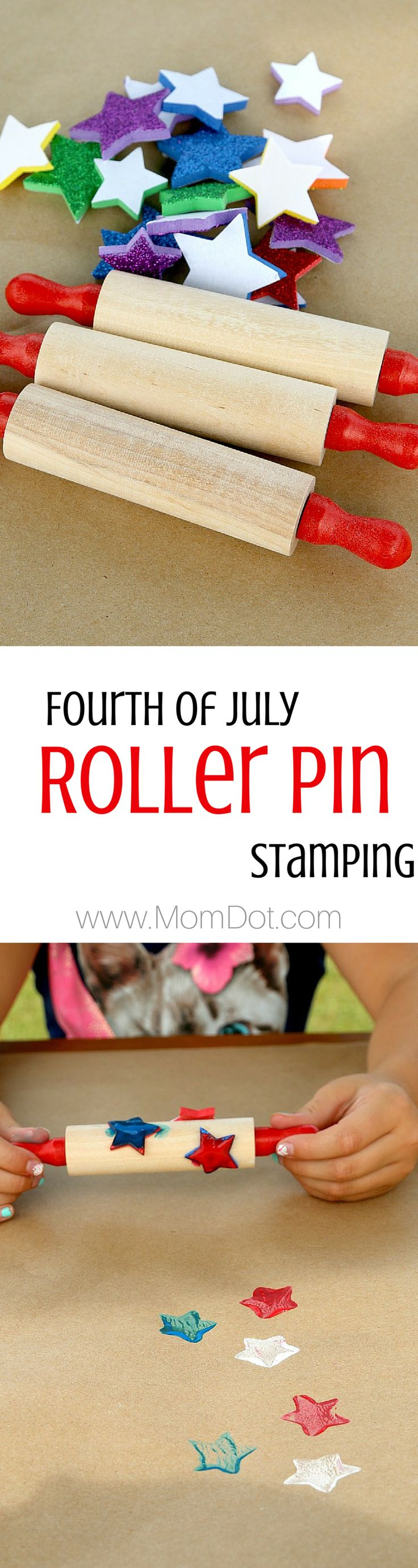 Roller Pin stamping great for July 4th picnic table decor, so easy for all ages. Just grab some foam shapes and easily stick on roller pins and roll. Great to keep kids busy at the table, or even create custom wallpaper or wrapping paper. Come see our results for this roller pin painting project for kids