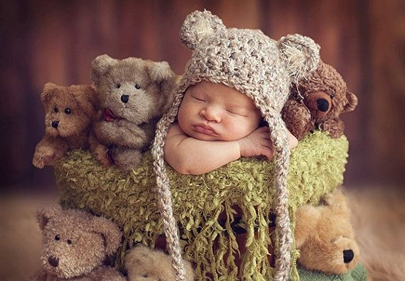 READY Baby Hat - Baby Bear Hat - Baby Boy Hat - Baby Girl Hat- 2 COLOR CHOICES Earflaps Ties with pom pom's