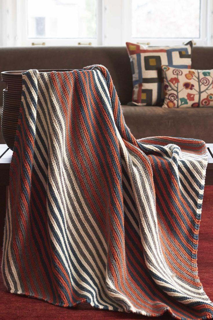 Bernat Harvest Home Diagonal Stripes Blanket Harvesthome