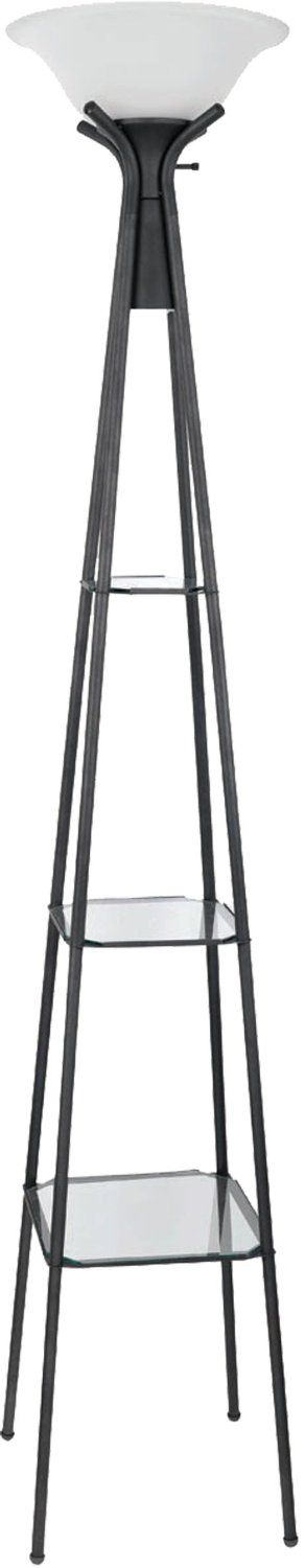 Coaster Home Furnishings, Black Floor Lamp with Glass Shelves