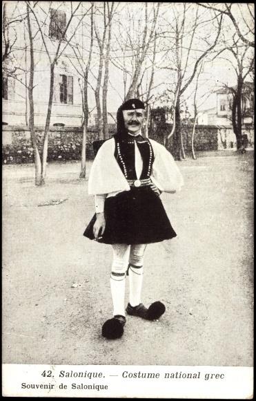 Old Postcard; Saloniki; Man in National Greek Costume.