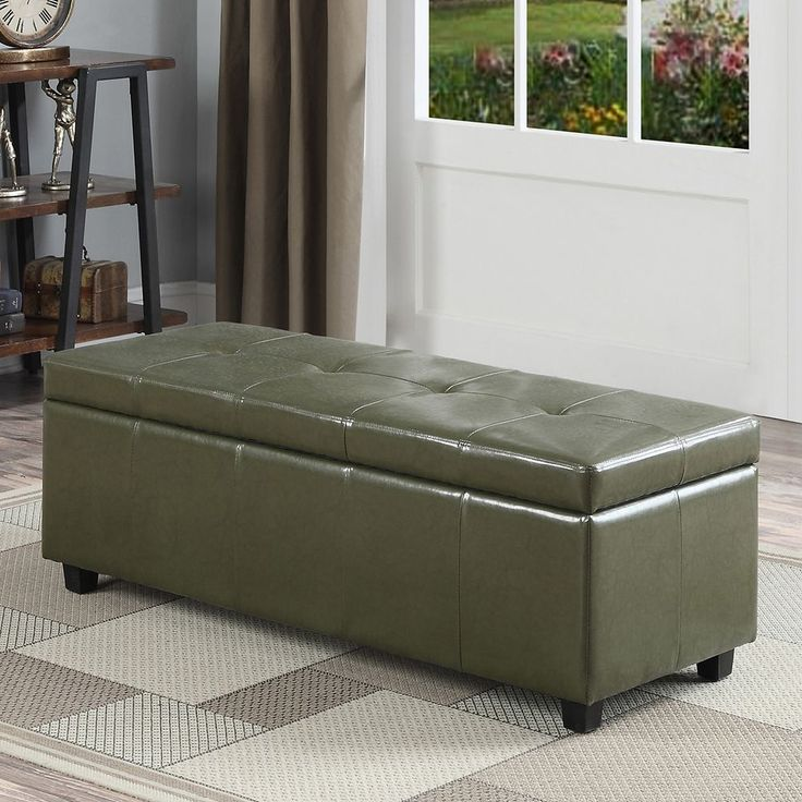 Simpli Home Castleford Large Rectangular Storage Ottoman Bench, Green