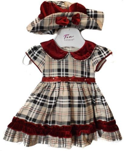 Baby-Girls-Romany-Style-Tartan-amp-Velvet-Occasion-Dress-amp-Hat-by-Tia-London