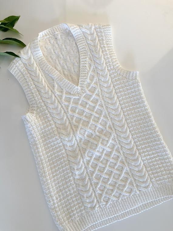 Mens Chunky Creamy White Knit Vest Cable Knit Vest Etsy In 2020 White Cable Knit Sweater Cream Knit Sweater Knit Vest