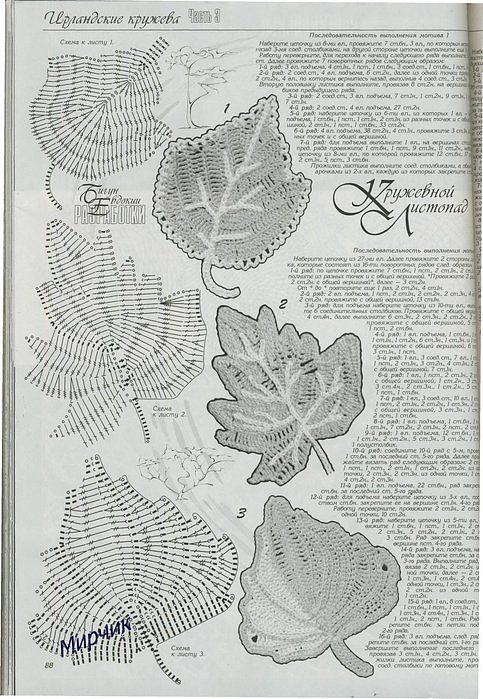 LEAVES knitting ... very much ... with the schemes ... Tremendous collection! .... Comments: LiveInternet - Russian Service Online Diaries