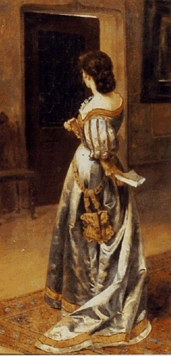 """I LOVE the pose here, and the angle of the shoulders. (""""Carta de amor"""" (love letter) by chilean artist Pedro Lira. 1880s)/ Ditto on love the pose."""